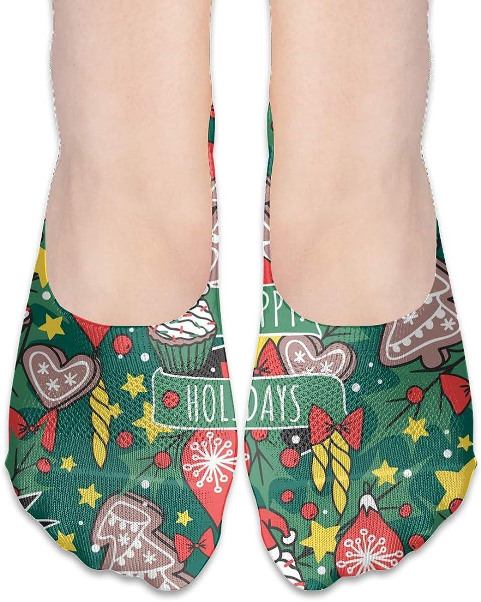 No Show Socks Women Men For Happy Holidays Xmas New Yaer Flats Cotton Ultra Low Cut Liner Socks Non Slip