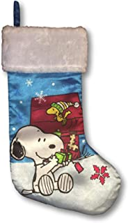Peanuts Christmas Stocking Snoopy & Woodstock Opening Presents - Plush Trim 16