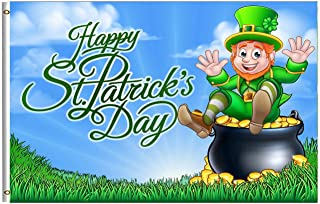 Happy St Patrick/'s Day Cartoon Leprechaun Irish Ireland Banner 5/'x3/' Flag