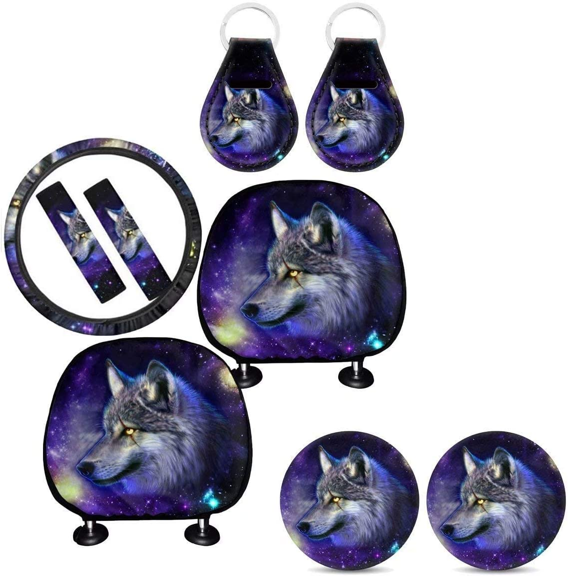 Steering Wheel Cover chaqlin Purple Butterfly Car Interior Decorative Accessories Full Set of 9pcs Seat Belt Pads+Keyring+Cup Holder Coaster Washable Universal Fit Headrest Cover