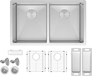 ZUHNE 32 Inch Double Bowl Under Mount 16 Gauge Stainless Kitchen Sink for 36 Inch Cabinet (50/50)