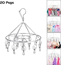 Kurtzy Drying Hanger Rack Round Stainless Steel with Clips Hooks Pegs 36cm