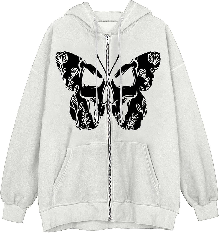ONHUON Hoodie for Women,Women Zip Up Hoodie Face Portrait Sweatshirt Hooded Y2k Aesthetic Long Sleeve Jacket with Pockets