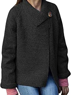 Womens Jumper Casual Warm Long Sleeve Lapel Button Knitted Loose Tops Sweater Coat