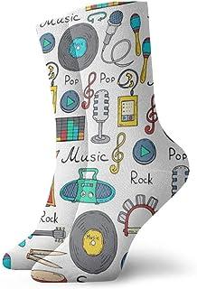 OUYouDeFangA, OUYouDeFangA - Calcetines Cortos de algodón con diseño de símbolos de música de Dibujos Animados para Adultos, para Yoga, Senderismo, Ciclismo, Correr, fútbol, Deportes