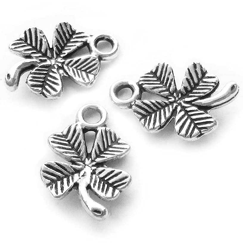 Heather's cf 130 Pieces Silver Tone Clover Beads DIY Charms Pendants15mmX10mm