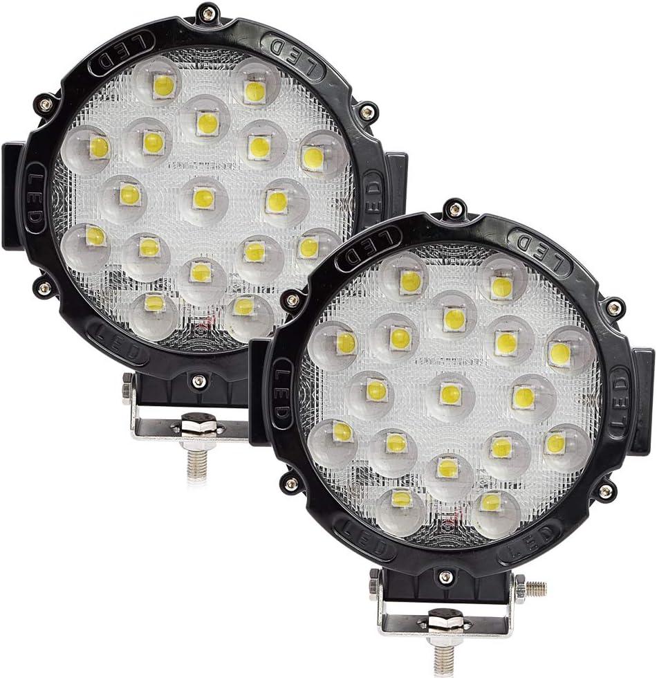 Safego 2pcs Focos LED, 51W 4080LM Faros Trabajo LED Spot 12V-24V Barra LED IP68 Impermeable Luz de Niebla para Coche,SUV, UTV, ATV,Off-Road,Camión,Moto,Barco - Garantía de 1 años(Concha Negra)