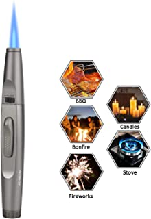 TOPKAY Torch Lighter, Candle Lighter, Multipurpose Windproof Jet Flame Butane Refillable Torch Lighter for Fire Starter, Grill, BBQ, Camping with a Gift Box (Empty Gas)