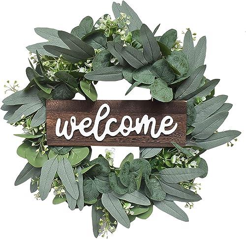 wholesale OPTIMISTIC Eucalyptus Wreath with Welcome Sign, Front discount Door Spring Wreath, Green Wreath, lowest Farmhouse Decor Eucalyptus Wreath, Greenery Wreath Door Decorative Wreath, 16In outlet sale