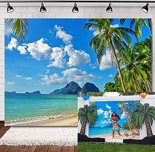 Allenjoy 7ftx5ft Beach Backdrop Tropical Backdrop Vinyl Beach Photo Backdrop Hawaii Backdrops Beach Backdrops for Photography Aloha Party Banner Backgrounds for Photos Studio Props