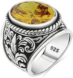 خاتم صلب من الفضة الاسترليني عيار 925 للرجال تصميم فاخر وفريد من نوعه مع حجر السترين مقلد