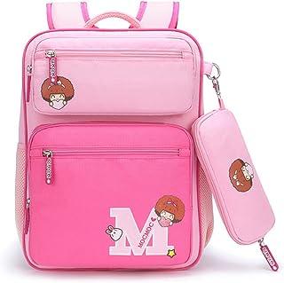 Willikiva Print Cute Cartoon Girls Kids Backpack for Children Elementary School Bags Bookbags (Light Pink/Deep Pink, Medium)