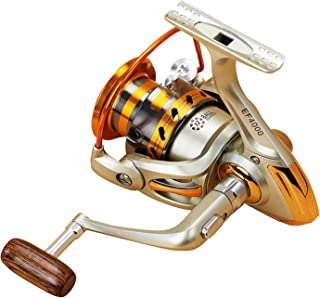 Spinning Fishing Wheel Ef1000 7000 12Bb 5.2:1 Wooden Fishing Reel Metal Left/Right Hand Fishing Accessories