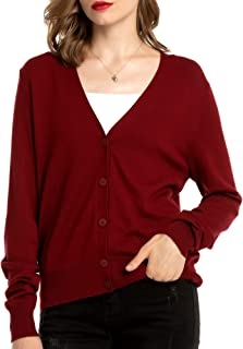 Women's V Neck Button Down Cardigan Sweaters Long Sleeve Lightweight Fall Classic Cardigans for Women Knit