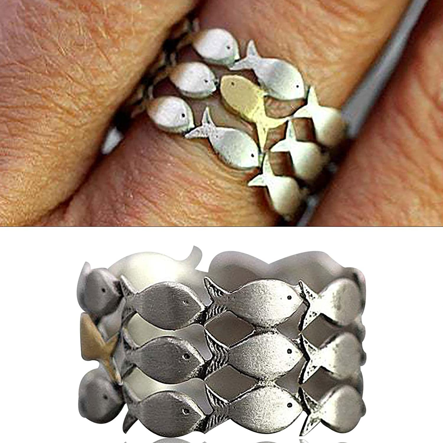 Women's Eternity Rings - New Creative Goldfish Swim Upstream On The Ring to Highlight Your Personality, Inspirational Wedding Bands Promise Rings Mother's Day Jewelry Gifts