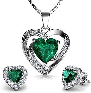 DEPHINI - Green Heart Necklace & Heart Earrings Set - 925 Sterling Silver - Crystal Studs & Pendant Birthstone- Fine Jewel...