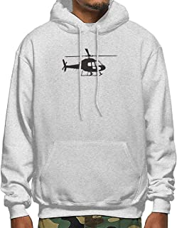 Helicopter Men's Long Sleeve Pullover Hooded Sweatshirt with Pocket