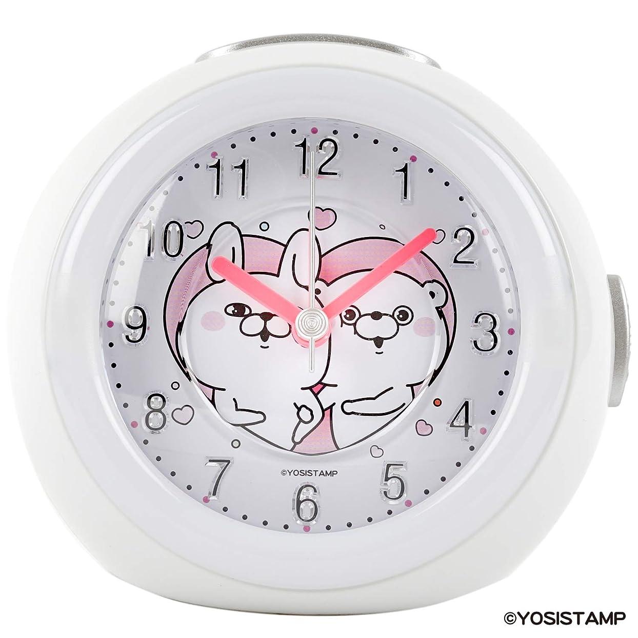 スプリット活気づく蓮ヨッシースタンプ 目覚まし時計 うさぎさん & くまさん アナログ メロディ アラーム ホワイト YO-01