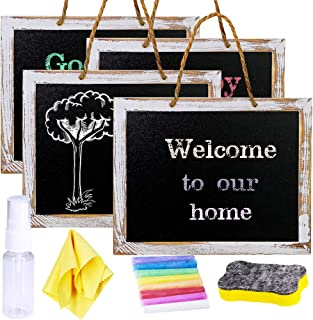 """4 Pcs Hanging Chalkboard Signs 9.5"""" X12"""" Rustic FramedVintage Decorative Wooden Chalkboard Signs Farmhouse Wedding Door Chalkboard Signs Menu Memo Board WallBlackboard for Outdoor Back to School"""