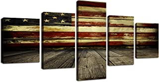 Wall Art Decor Pictures for Living Room Canvas Print Retro Vintage American USA Flag and Wooden Modern Painting 5pcs Framed Posters Bedroom Giclee Print Gallery Wrap Artwork Stretched(50''W x 24''H)