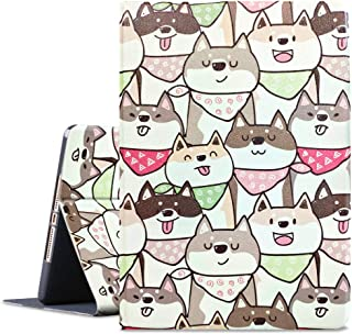 HBorna iPad 9.7 2018/2017 Case, iPad Air/iPad Air 2 case, Soft Rubber Back Cover, Adjustable Stand Folio Cover, Auto Wake/Sleep Smart Case for Apple 6th 5th Gen, Dog