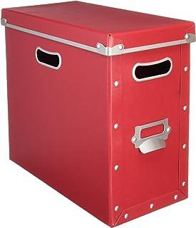 ナカバヤシ 収納ボックス ストックボックス フタ付き Mサイズ レッド FBB-M-R