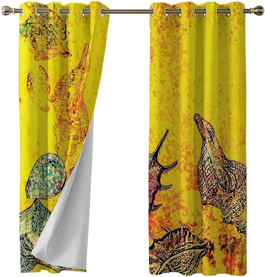 Blackout Seasonal Wrap Introduction Grommet Window Curtain Panel Grunge Special sale item Seashells Animal Mo