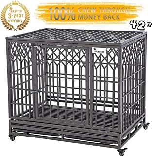 SMONTER Heavy Duty Dog Crate Strong Metal Pet Kennel Playpen with Two Prevent Escape Lock, Large Dogs Cage with Wheels, Y Shape, Dark Silver … …