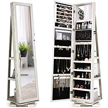 Amazon Com Twing Jewelry Organizer Jewelry Cabinet 360 Rotating Lockable Standing Wall Jewelry Armoire With Full Length Mirror Large Jewelry Armoire Cabinet White With Wood Grain Home Improvement