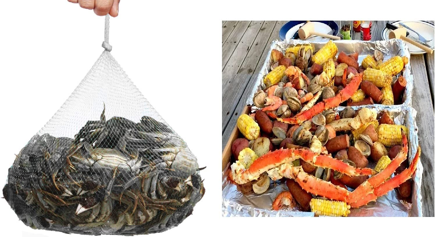 Zanup 50 Pcs 27 Inch Seafood Boiling Bags for Crab Crawfish Shellfish, Mesh Plastic Produce Bags Reusable Fruit and Vegetable Packaging Net