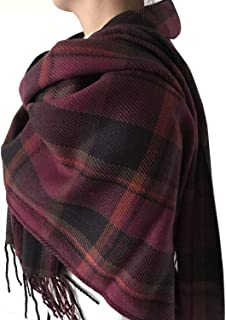 Plaid Scarf - Women Tartan Scarf Long Wool Spinning Tassel Wrap Shawl Classic Style Soft and Warm in Autumn and Winner
