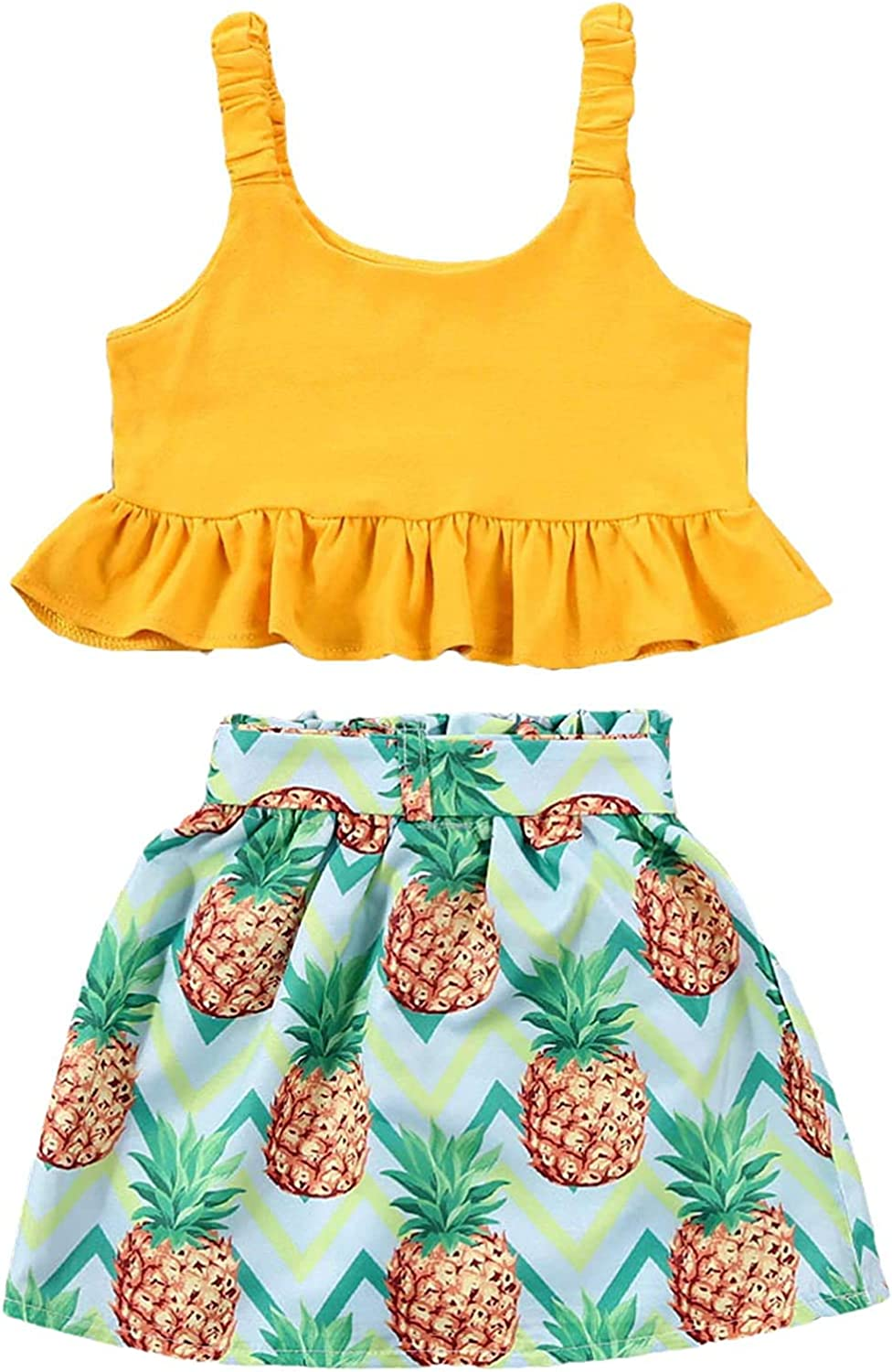 Toddler Baby Girl Skirts Outfits Ruffled Strap Crop Top + Pineapple Shorts Skirts Two Piece Summer Clothes Set
