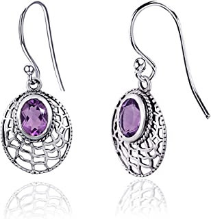 Orchid Jewelry 2.21 CTW Natural 8X6MM Oval Purple Amethyst 925 Sterling Silver Dangle Earrings For Women – A February Birt...