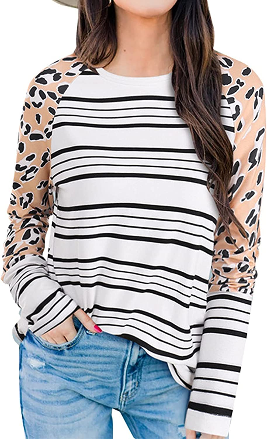 Women's Loose Striped Long Sleeved Printing Stitching O Neck Sweater Top