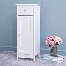 Iwell Small Bathroom Floor Storage Cabinet with 1 Drawer, Free Standing Kitchen Cupboard Wooden Cabinet with 1 Door, White