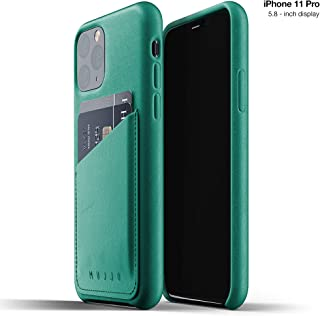 Mujjo Full Leather Wallet Case for Apple iPhone 11 Pro | 2-3 Card Holder Pocket | Premium Soft Supple Leather, Unique Natural Aging Effect (Alpine Green)
