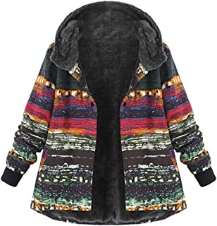 DongDong Women's Plus Size National Wind Print Coat Hooded Long Sleeve Vintage Fleece Thick Buckle Outwear