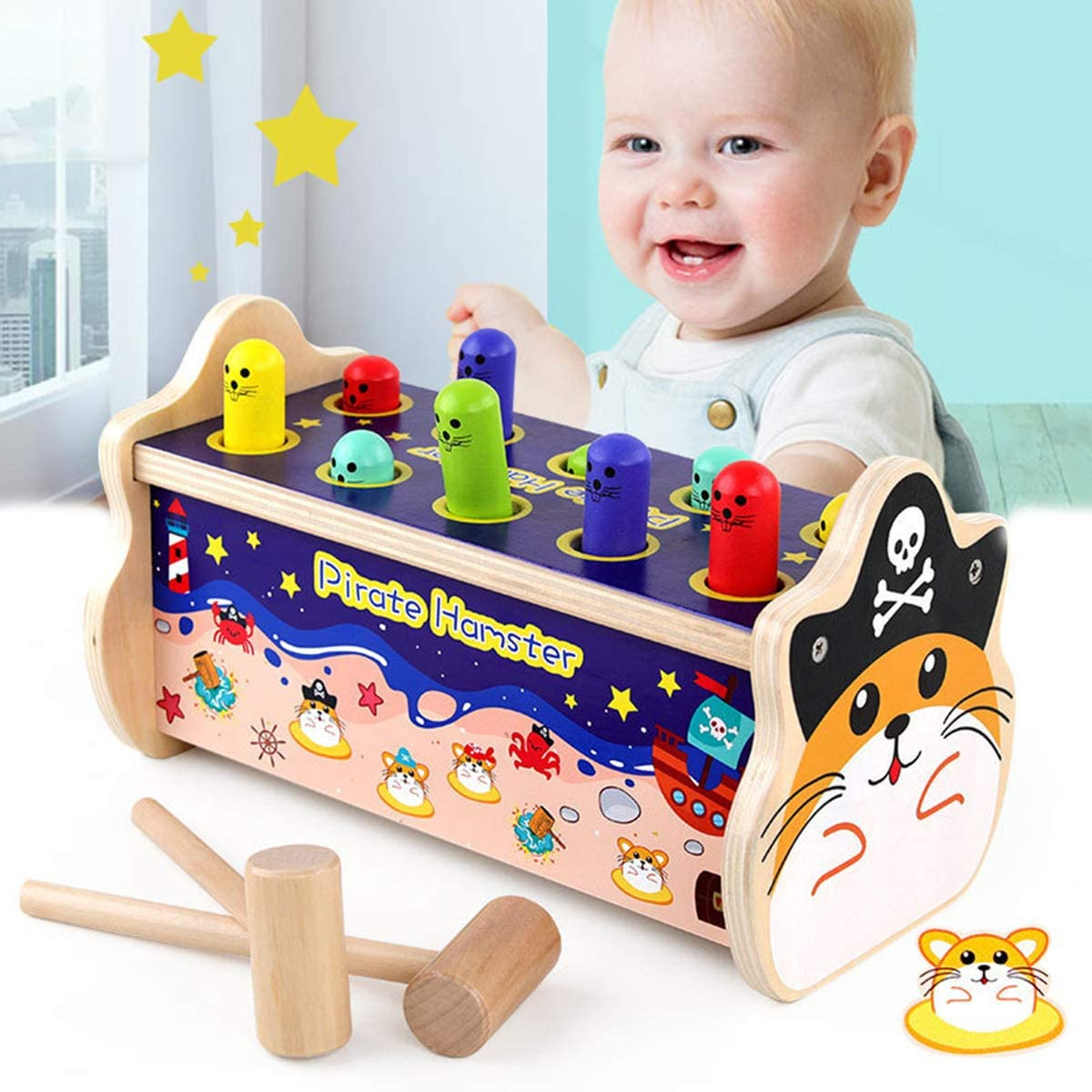 KAILUN Wooden Hammer Raleigh Mall Toys SALENEW very popular! 3 in 1 and Along Pound Bus Animal Pull