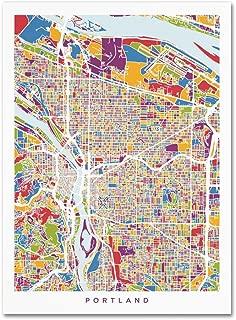 Portland Oregon City Street Map by Michael Tompsett, 35x47-Inch Canvas Wall Art