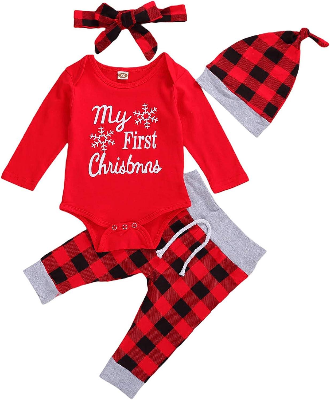 Newborn Baby Boy Girl My 1st Thanksgiving Halloween Christmas Long Sleeve Romper+Pants 3/4pcs Xmas Outfit Clothes Set