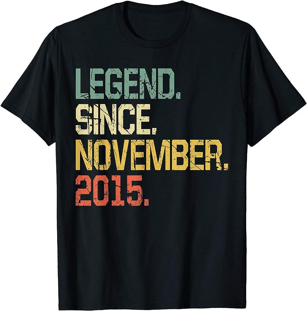 4 Years Old Shirt Gift- Legend Since November 2015 T-shirt