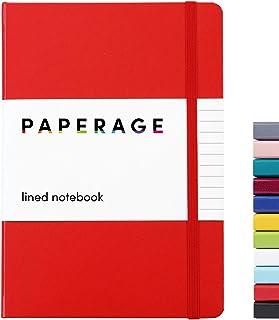 نوت بوک ژورنالی Paperage Lined ، جلد سخت ، متوسط 5.7 inc 8 اینچ ، کاغذ ضخیم 100 گرم (قرمز ، حاکم)