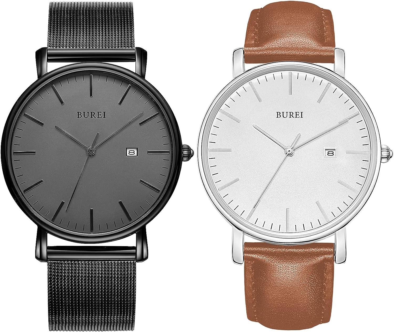 Amazon.com: BUREI Men's Fashion Minimalist Wrist Watch Analog Deep Gray Date  with Black Mesh Band and Brown Belt Watch Combination : Clothing, Shoes &  Jewelry