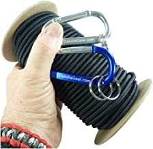 """Shock Cord – BLACK 1/4"""" x 25 ft. Spool. Marine Grade, with 2 Carabiners & Knot Tying eBook. Also called Bungee Cord, Stretch Cord & Elastic Cord."""