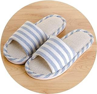 lovehouse21 Summer Shoes Men Beach Sandals Flip Flops Striped Linen Male Casual Sneakers for Home Indoor Slippers Erkek Terlik