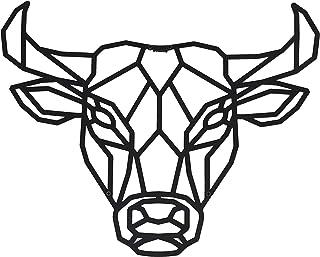 Hansmeier® Wanddeko aus Metall | 50 x 40 cm | Wasserfest | Für Außen, Innen, Balkon & Garten | Metalldeko | Deko Industrial | Motiv Bulle
