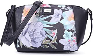DAVIDJONES women pu embroidory crossbody bag-BLACK