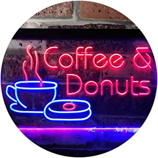ADVPRO Coffee and Donuts Kitchen Shop Plaque Dual Color LED Neon Sign Blue & Red 16
