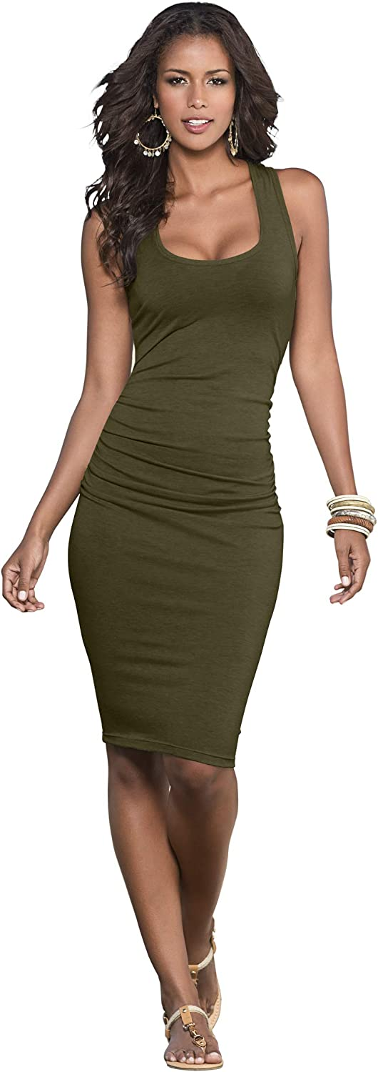Venus Women's Ruched Tank Dress Scoop Neck Racerback Detail Form-Fitting Bodycon Style