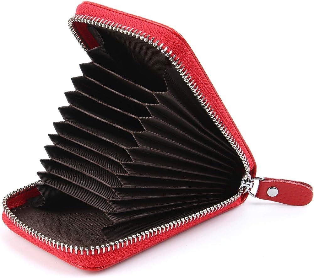 Airzyx, porta carte di credito unisex, in pelle